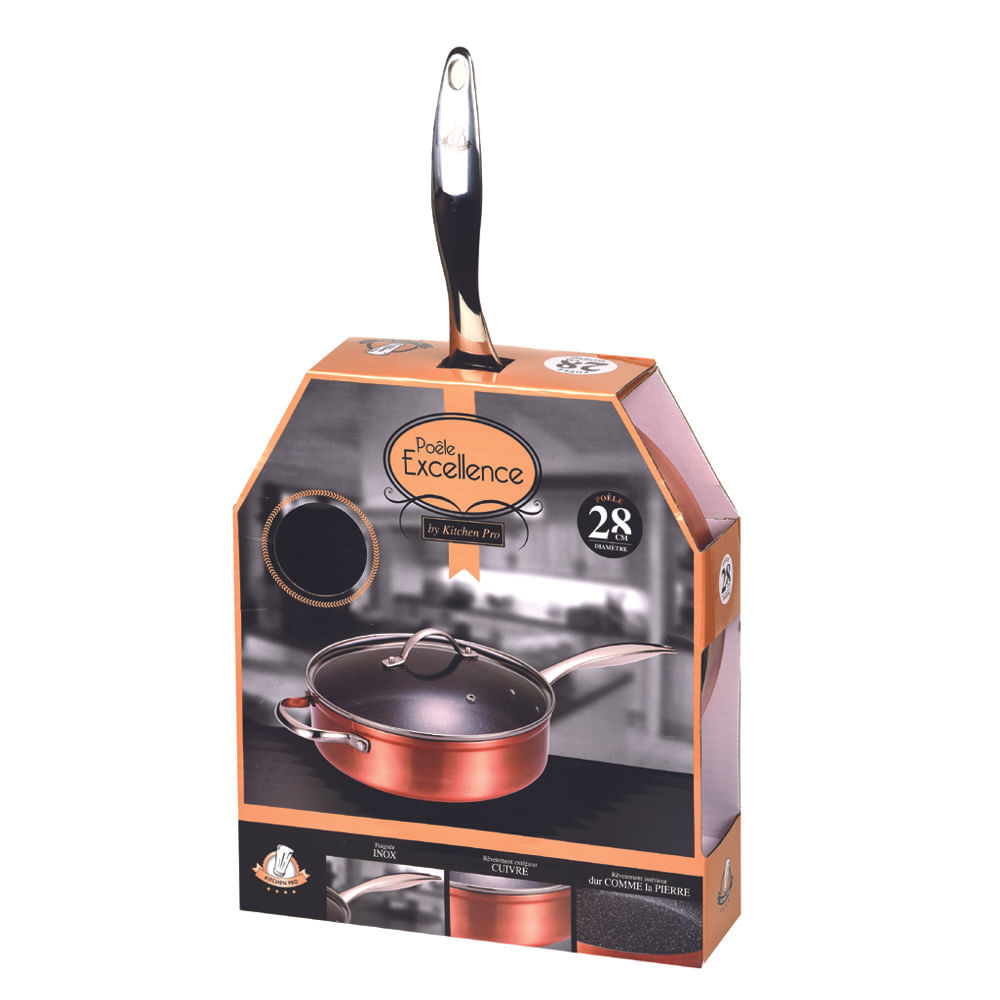 Frigideira Wok Antiaderente 28 cm Excellence Kitchen Pro com Tampa