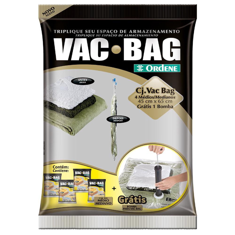 Conjunto de 4 Sacos a Vácuo VAC BAG Ordene com Bomba