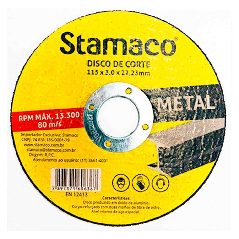 Disco De Corte Metal 115x 3.0x 22,23mm Stamaco