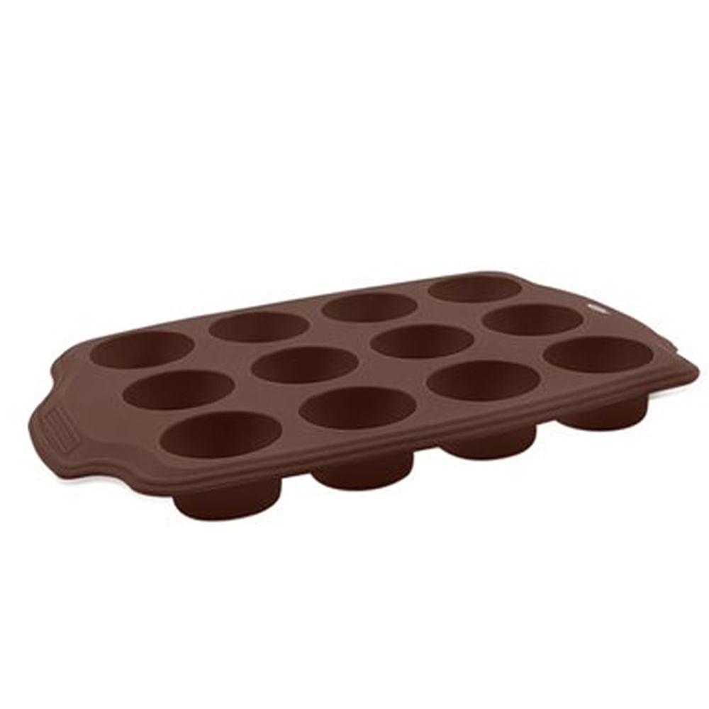 Forma 12 Divisões Mini em Silicone Glacê Brinox Chocolate