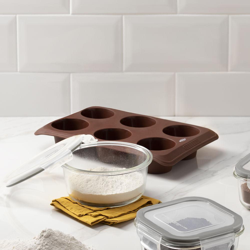 Forma 6 Divisões em Silicone Glacê Brinox Chocolate