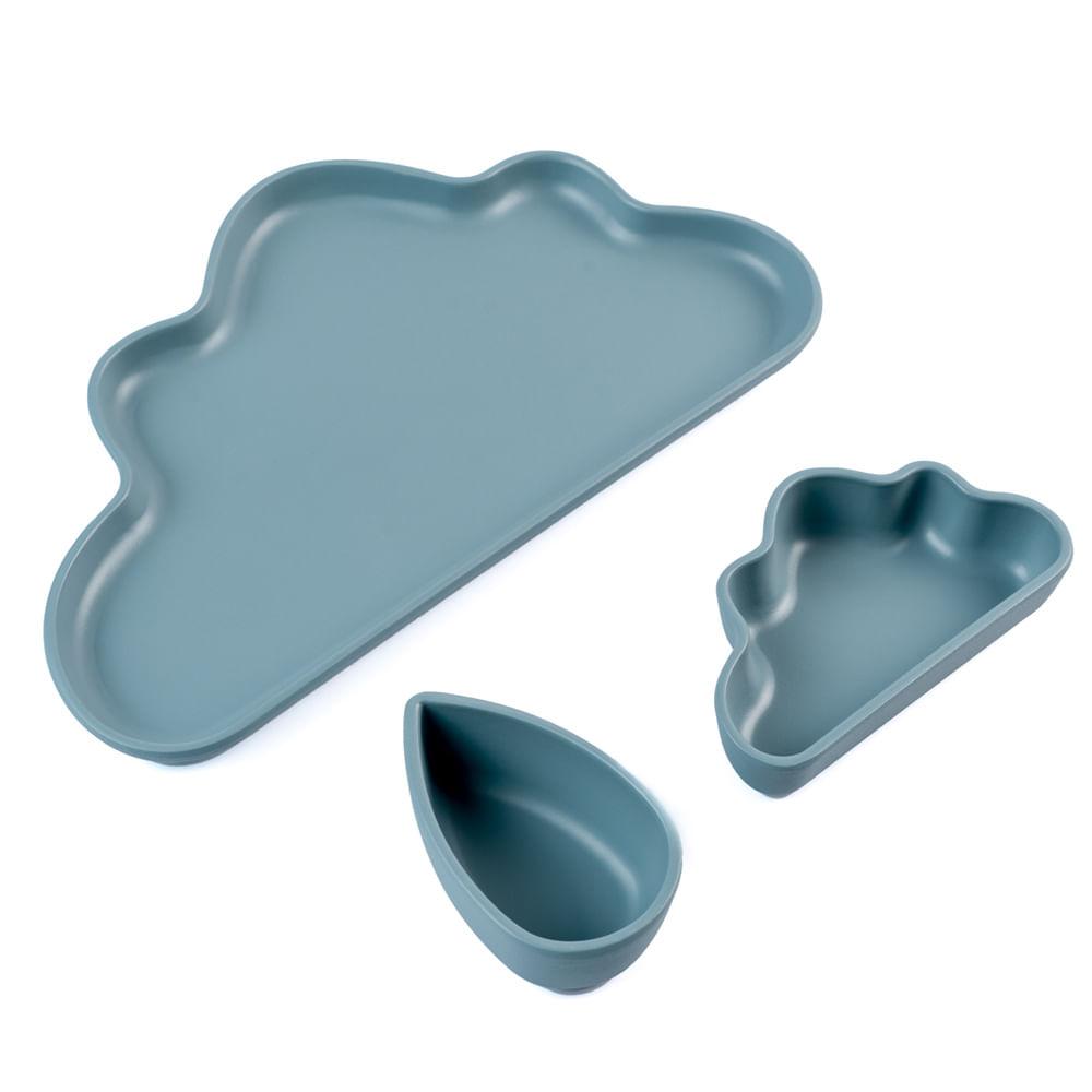 Conjunto de Pratos Infantil Planck 3 Peças Nuvem Cinza