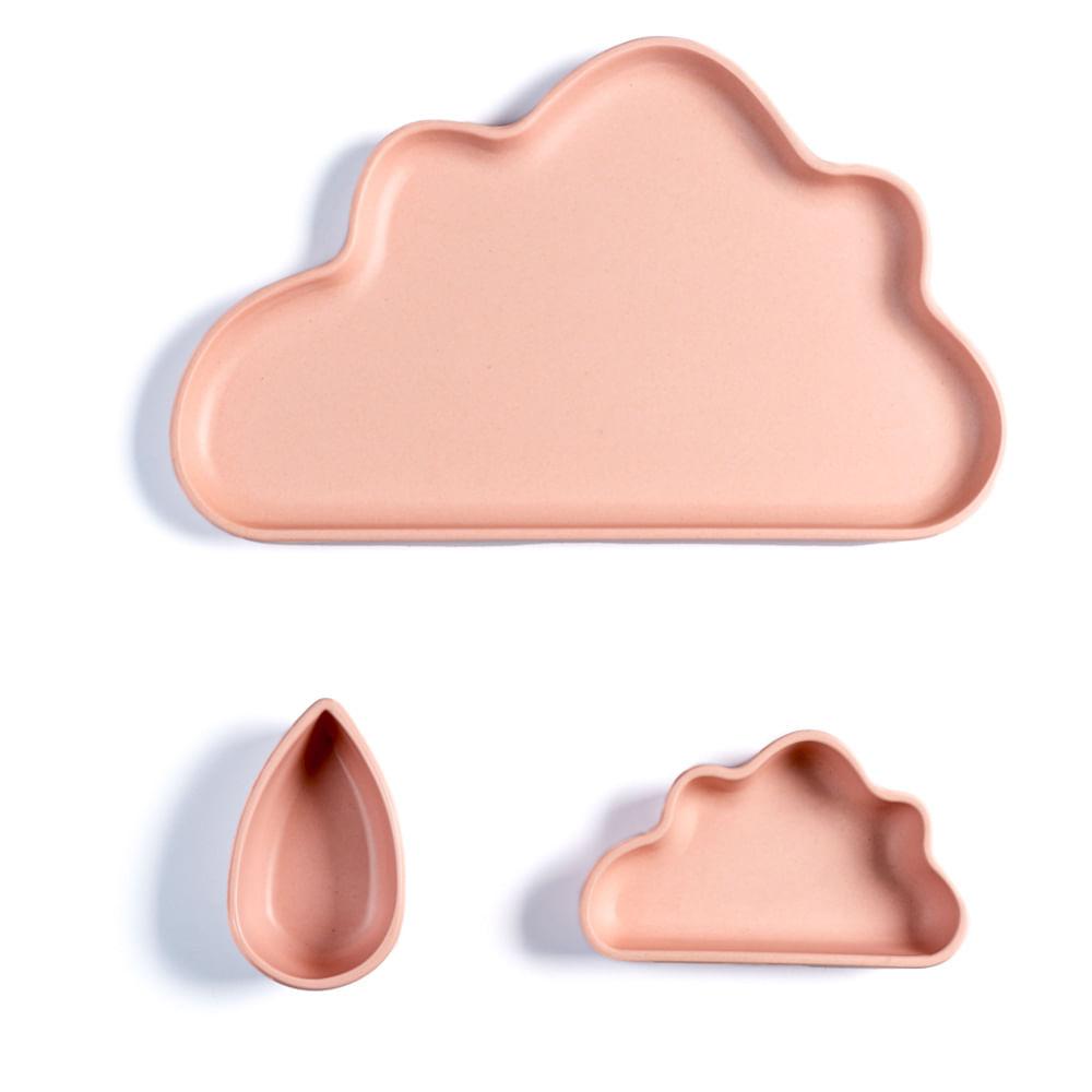 Conjunto de Pratos Infantil Planck 3 Peças Nuvem Rosa