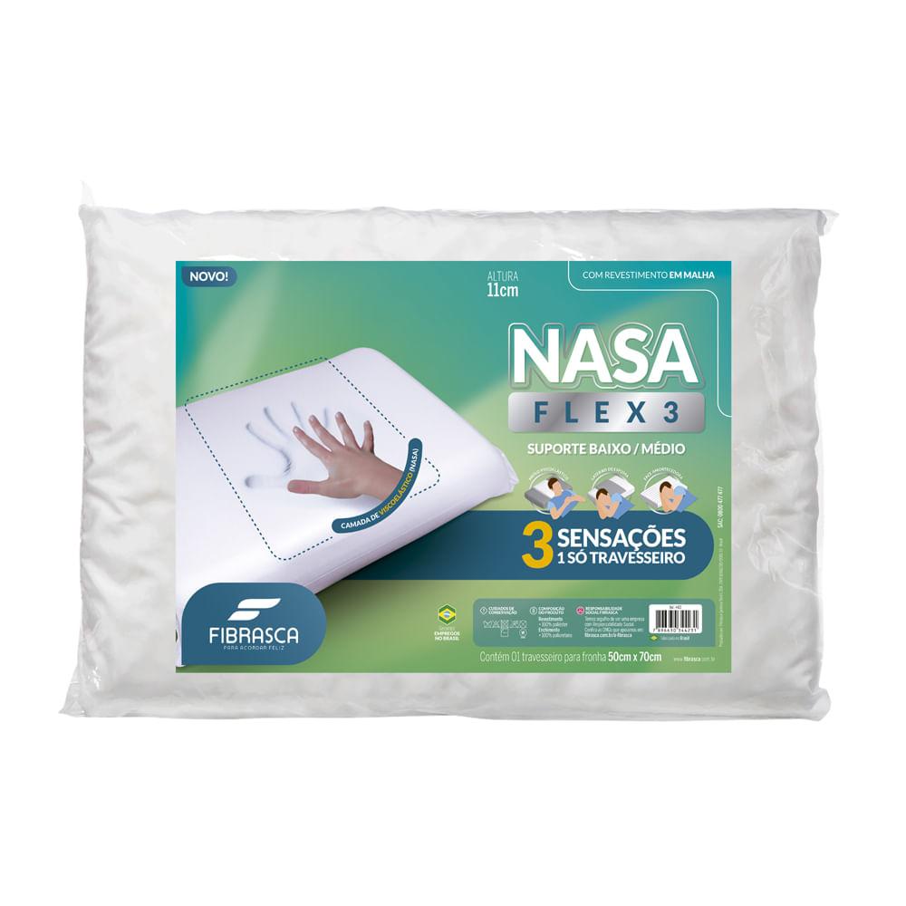 Travesseiro Nasa Flex3 Suporte Baixo/Médio Fibrasca