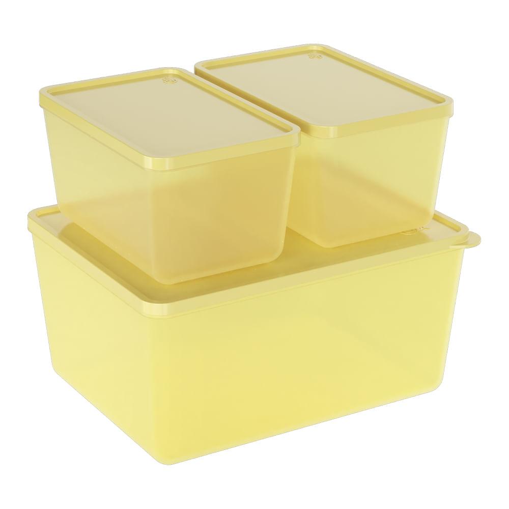 Conjunto 3 Potes Basic Amarelo Coza