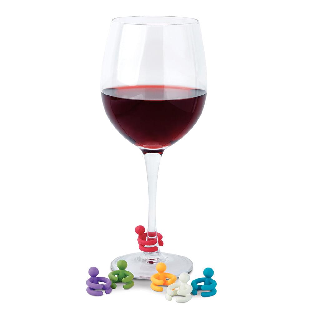 6 Marcadores de Taças Colorido Vino Ghidini