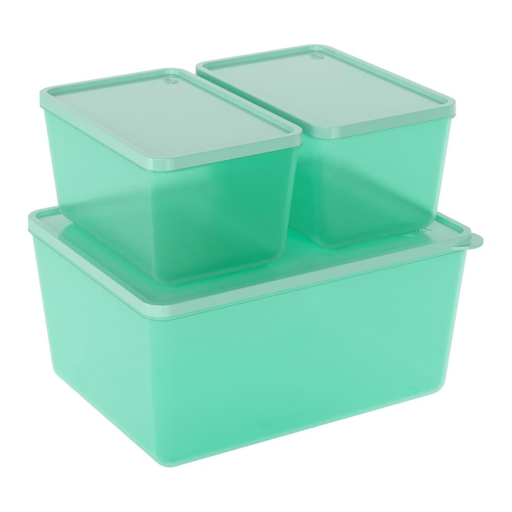 Conjunto 3 Potes Basic Verde Coza