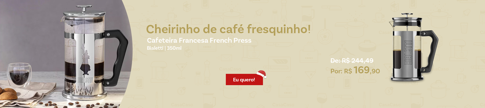 Cafeteira Francesa French Press Bialetti 350ml