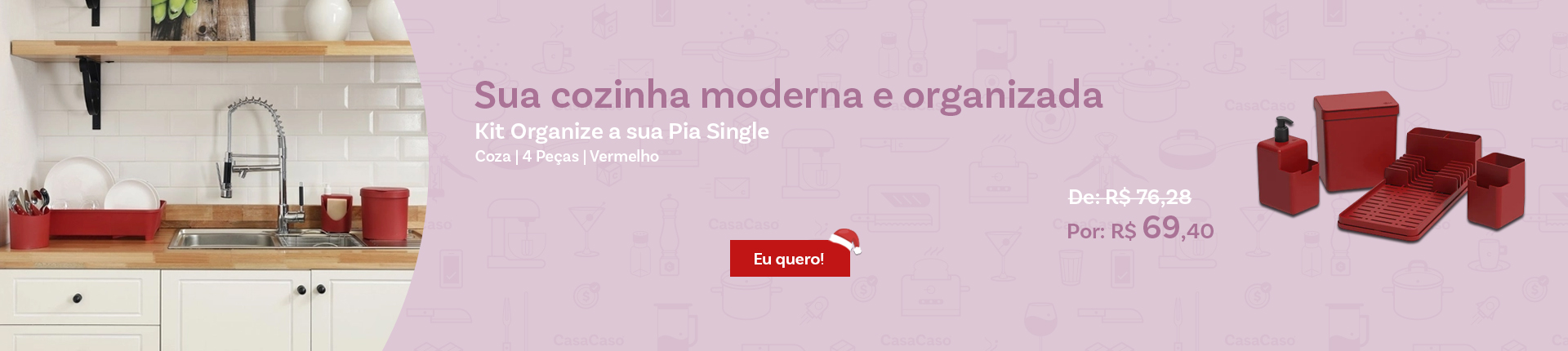 Kit Organize a sua Pia Single Coza 4 Peças Vermelho