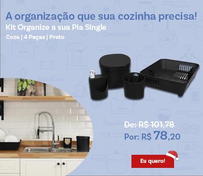 Kit Organize a sua Pia Basic Coza 4 Peças Preto